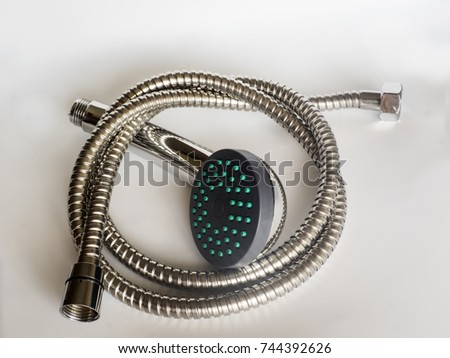 shower head for the bathroom with a corrugated hose shower Isolated on white background