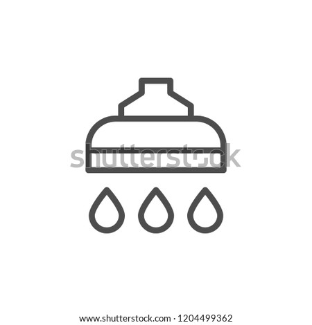 Shower line icon isolated on white