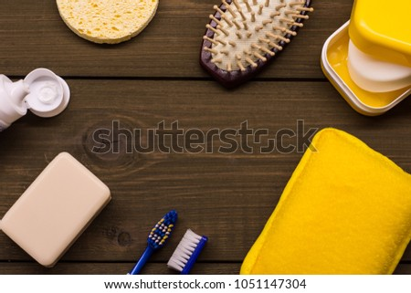 Shower set. Toiletries. Wisp, soap, sponge and comb. Bodycare kit. Yellow combo. Start of the day. Water procedures. #1051147304