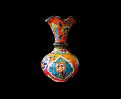 showing a composition of artistic painted handcrafted pottery jars. Traditional Turkish decorative ceramics for interior decoration.