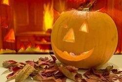 Showing a spooky orange smiley halloween pumpkin