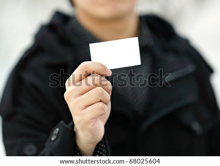 showing blank business card