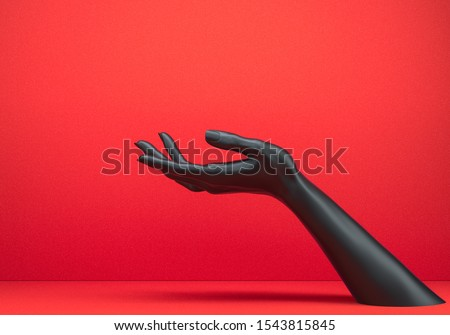 Showing hand. Black open palm presenting gesture isolated on red background, female hand sculpture, art fashion concept, modern promo creative banner, 3d rendering, stock photo