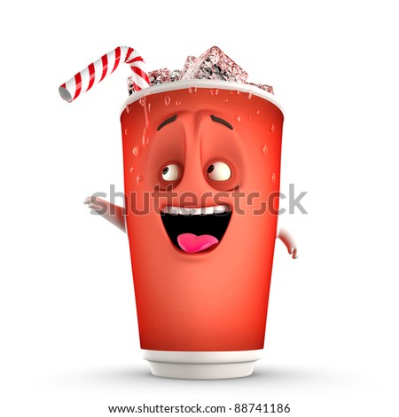 showing icy drink on a white background