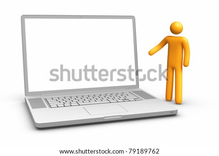 Showing laptop. clipping path included.