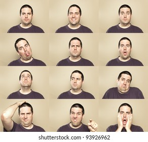 A stock photo showing many faces of the same man