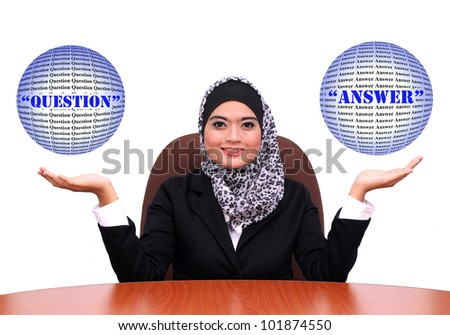 Showing muslim business woman with open hand palms for question and answer . muslim Businesswoman in black suit isolated on white background.