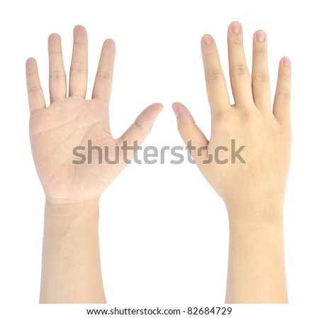 showing number five of woman hand isolated on white background