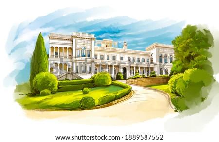 Shown are the tourist attractions of the Crimea. Tourism, Crimea peninsula, Russia, Crimean coast tourism. Stock foto ©