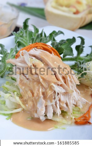 Shredded boiled chicken with  sauce   - A Popular Taiwan food in summer