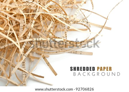 shredded book paper with isolated on white background