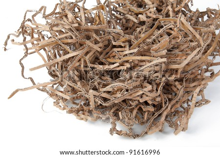shredded brown cardboard I