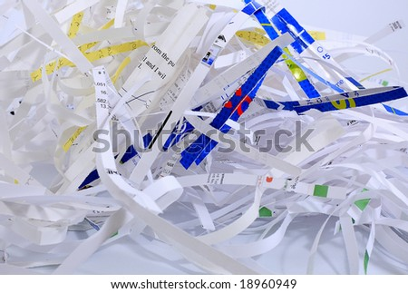 Shredded documents protecting identity and privacy.