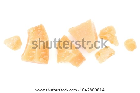 shredded parmesan cheese isolated on white background cutout