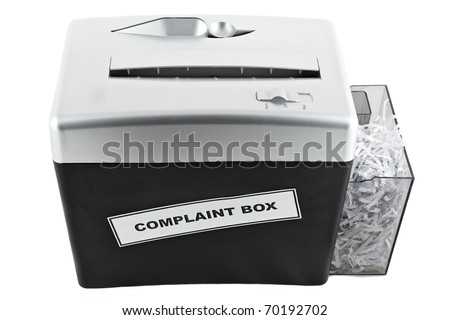 shredder with funny label on it isolated on white