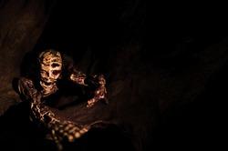 Shrill Zombie Skeleton in Halloween Night Background Texture