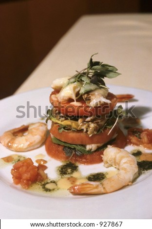Shrimp and Tomato Tower