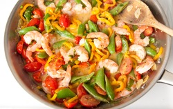 Shrimp and Vegetables Sauteed in Coconut Milk with Herbs and Spices