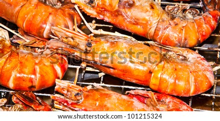 Shrimp are being burned on the grill.