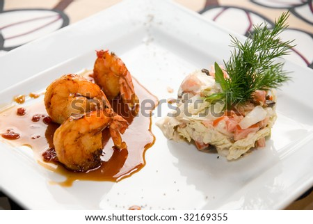 Shrimp dish food at table