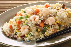 Shrimp fried rice. Part of a series of nine Asian food dishes.