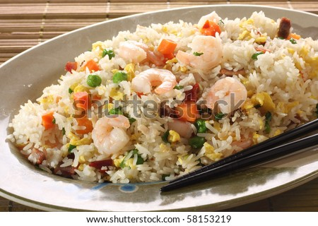 Shrimp fried rice part of a series of nine asian food for La cuisine de bernard