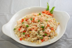 Shrimp fried rice with assorted vegetables