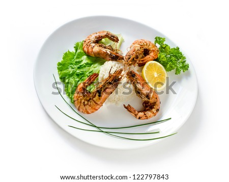 shrimp in a bowl on a white background insulation