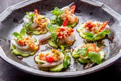 Shrimp in fish sauce, shrimp in fish sauce, hot and spicy, seafood Thai (spicy salad shrimp in fish sauce) , Thai spicy salad