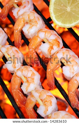 Shrimp kebabs on the grill
