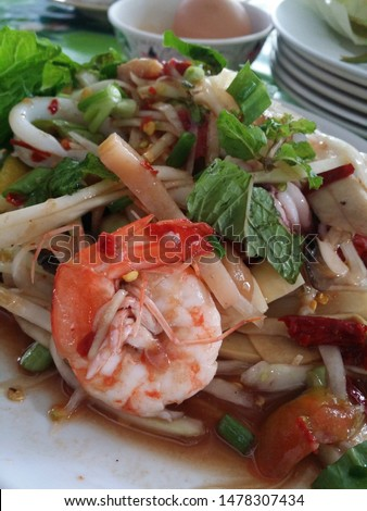 Shrimp Papaya Salad,papaya salad,Shrimp papaya salad with tomatoes, peppers, bamboo shoots, clams, Spicy papaya salad,Papaya Salad with Shrimp, Thai food #1478307434