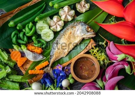 Shrimp Paste Chilli Sauce (Nam Prik Ka Pi) serve with Fried Mackerel and vegetable, Thai Food Zdjęcia stock ©