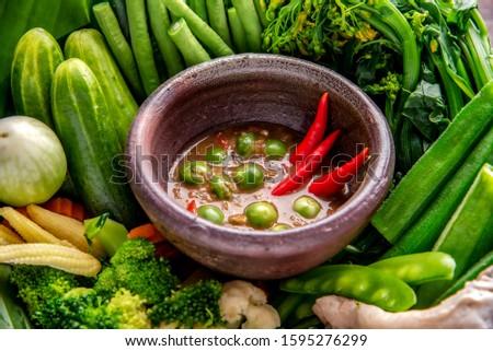 Shrimp-paste sauce,Spicy Kapi, Fried mackerel with shrimp paste sauce and vegetable set. Thai food Zdjęcia stock ©