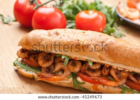 Shrimp Po-Boy sandwich