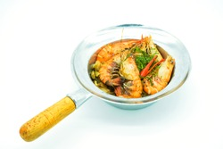 Shrimp potted with vermicelli on a white background