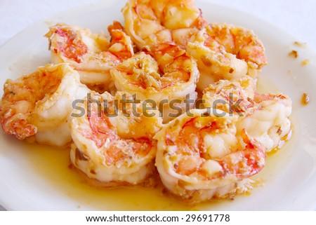Shrimp prawn appetizer cooked seasoned seafood dish