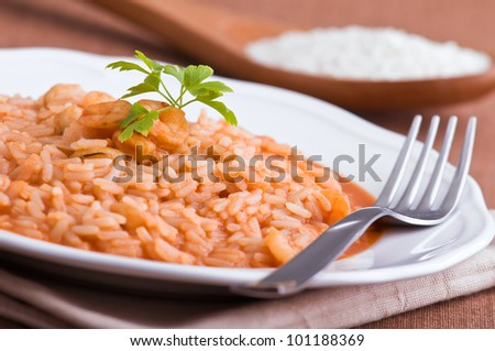 Shrimp risotto.