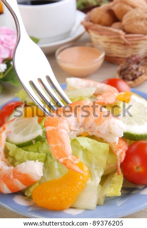 Shrimp salad -the shrimp in the fork