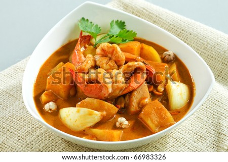 Shrimp with Thai food style concentrate curry