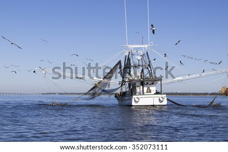 Shrimping Boat off of Biloxi and Ocean Springs Coast with Small dolphin next to left net