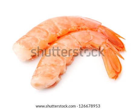 Shrimps close up on white. Seafood