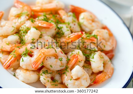 Shutterstock shrimps cooked with garlic and dill