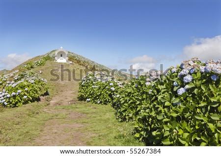 Shrine near Caldeira extinct volcano in Faial island, Azores, Portugal