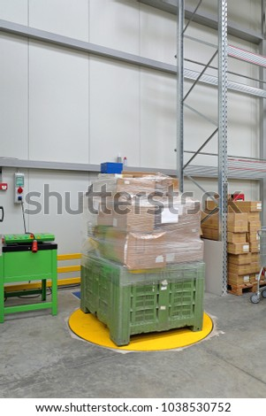 Shrink Foil Film Pallet Wrapping Machine in Warehouse