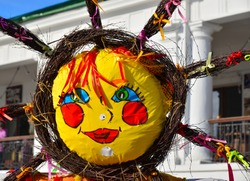 Shrovetide in Russia, Suzdal. Big doll  as symbol of winter end  and  spring coming. Slavic traditional - Maslenitsa or Pancake Week