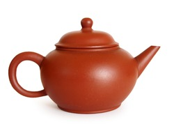 Shuiping Yixing Chinese teapot - isolated on white background with clipping path