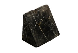 shungite stone with pyrite streaks isolated on white background. High quality photo