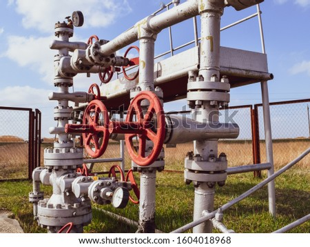 Shut-off valves on the high-pressure well flowing equipment. Oil equipment.