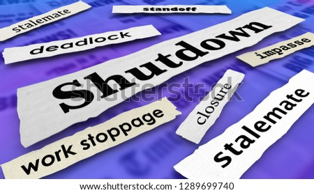 Shutdown Government Stalemate Newspaper Headlines 3d Illustration