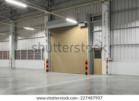 Shutter door or rolling door beige color night scene